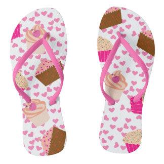 Cupcake Pattern Flip Flops