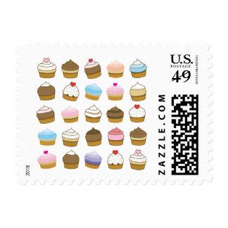 cupcake pattern postage stamp