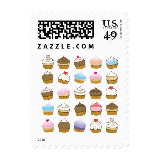 cupcake pattern postage stamps