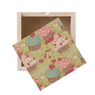 Cupcake pattern wooden keepsake box