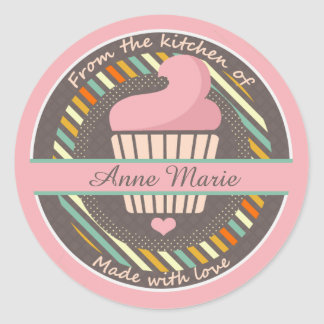 Cupcake Personalized Made With Love Classic Round Sticker