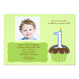 "Cupcake PHOTO Birthday Invitation Babies 1st 5"" X 7"" Invitation Card"