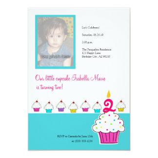 "Cupcake Photo Invitations, Birthday Party 5"" X 7"" Invitation Card"