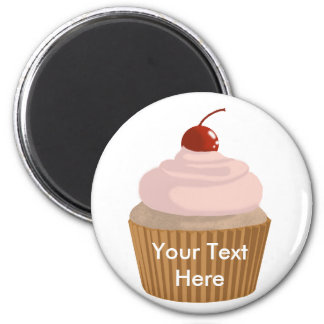 Cupcake-Pink and Brown 2 Inch Round Magnet