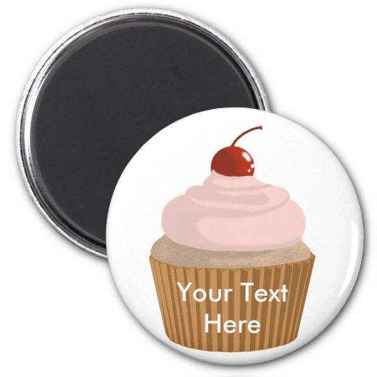 Cupcake-Pink and Brown Magnet