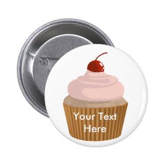 Cupcake-Pink and Brown Pinback Button