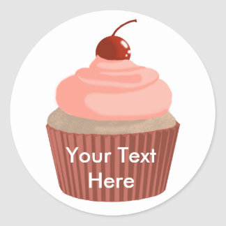 Cupcake-Pink and Red Classic Round Sticker
