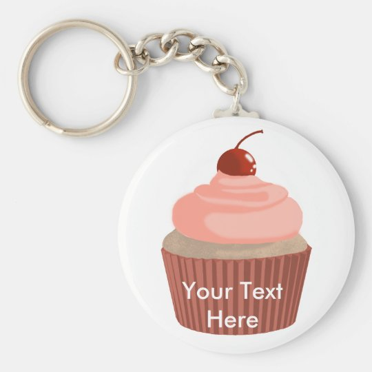 Cupcake-Pink and Red Keychain