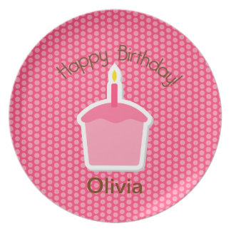 Cupcake Pink Birthday Plate