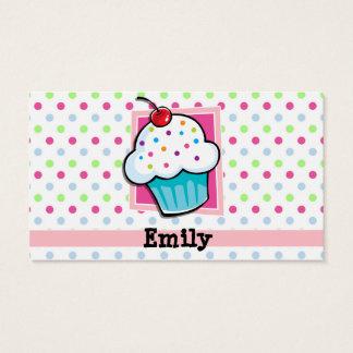 Cupcake, Pink, Blue, Green, Polka Dots Business Card