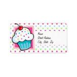 Cupcake, Pink, Blue, Green, Polka Dots Label