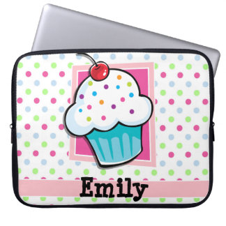 Cupcake, Pink, Blue, Green, Polka Dots Laptop Sleeves