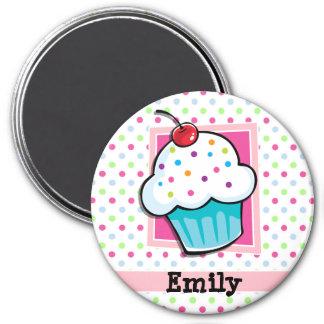 Cupcake, Pink, Blue, Green, Polka Dots 3 Inch Round Magnet
