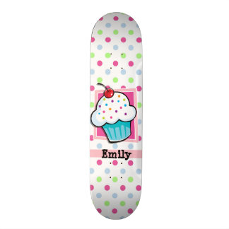 Cupcake, Pink, Blue, Green, Polka Dots Skateboard Deck