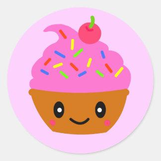 cupcake pink classic round sticker