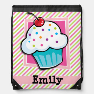 Cupcake; Pink & Lime Green Stripes Cinch Bags