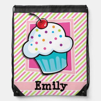 Cupcake; Pink & Lime Green Stripes Cinch Bag