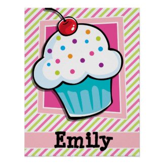 Cupcake; Pink & Lime Green Stripes Poster