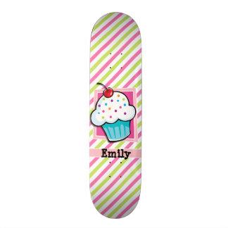 Cupcake; Pink & Lime Green Stripes Custom Skate Board