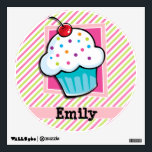 """Cupcake; Pink &amp; Lime Green Stripes Wall Decal<br><div class=""""desc"""">Cool, colorful kid&#39;s cupcake, colorful sprinkles, red cherry, pink purple, blue, turquoise, orange sprinkles, white icing cupcake design on lime green and white stripes, striped pattern. Perfect gift for baby, toddler, kids, children, teens, or adults! Personalized the design template by adding a child&#39;s name or custom text. Visit our store,...</div>"""