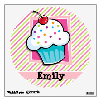 Cupcake; Pink & Lime Green Stripes Wall Decal