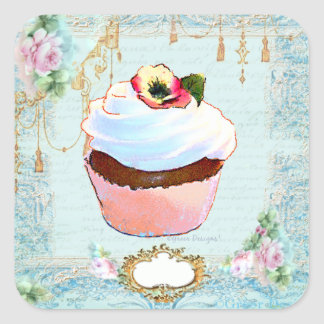 Cupcake & Pink Roses Lace Stickers Tags
