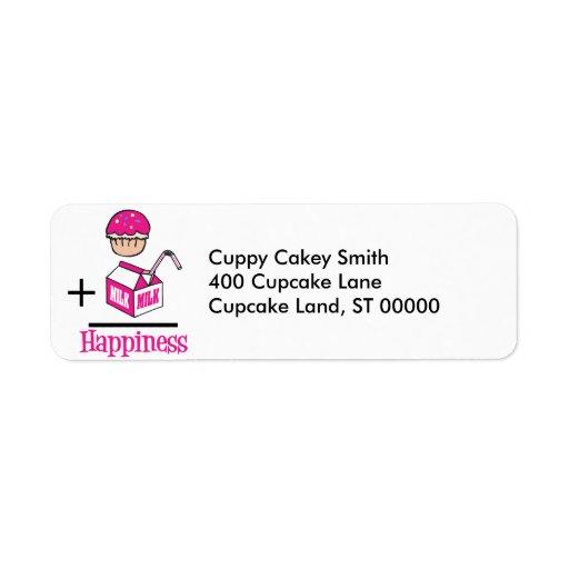 Cupcake Plus Milk Happiness Custom Return Address Label