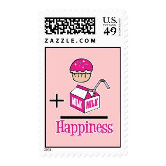 Cupcake Plus Milk Happiness Postage Stamp