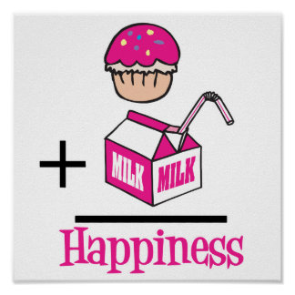Cupcake Plus Milk Happiness Poster