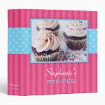 Cupcake Polka Dot Stripe Recipe Vinyl Binders