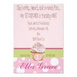 Cupcake & Polka Dots - Green 5x7 Paper Invitation Card