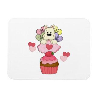 Cupcake Puppy Dog Valentines Rectangular Photo Magnet