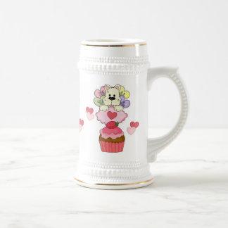 Cupcake Puppy Valentines Beer Stein