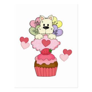 Cupcake Puppy Valentines Postcard