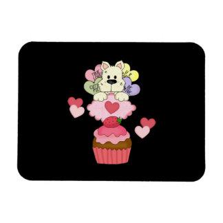 Cupcake Puppy Valentines Rectangular Photo Magnet
