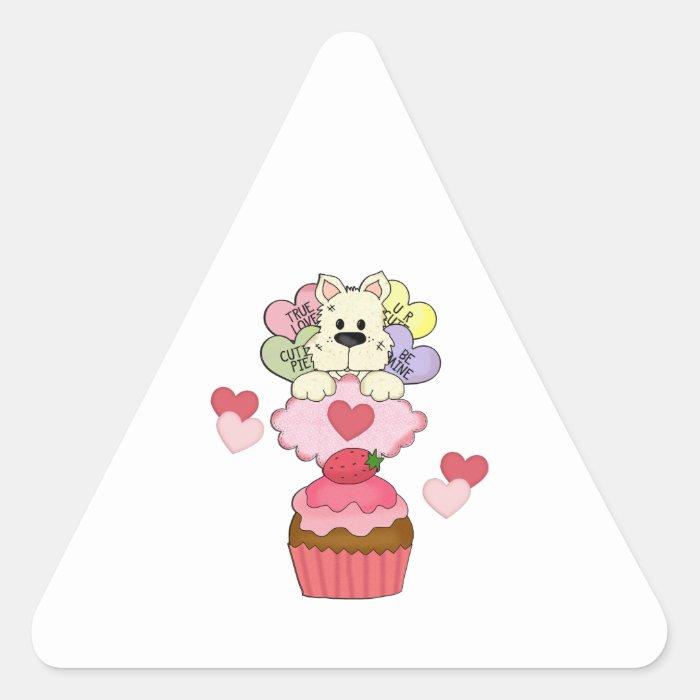 Cupcake Puppy Valentines Triangle Sticker