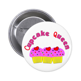 """""""Cupcake Queen""""  T-Shirts and Gifts Button"""