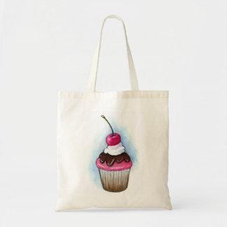 Cupcake: Realism Art: Pink Icing, Cherry Tote Bag
