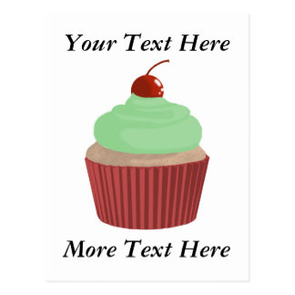 Cupcake-Red and Green Postcard
