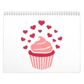 Cupcake red hearts wall calendar
