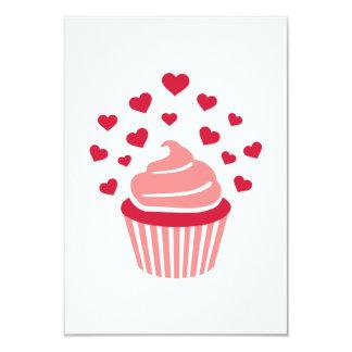 Cupcake red hearts invitations