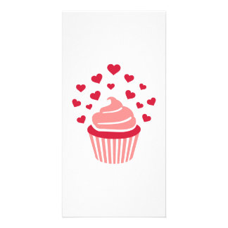 Cupcake red hearts customized photo card