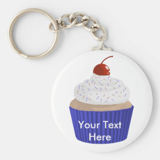 Cupcake-Red White and Blue Basic Round Button Keychain