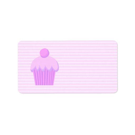Cupcake. rosado etiquetas de dirección