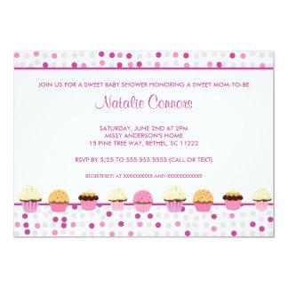 Cupcake Row Baby Shower invite pink purple gray