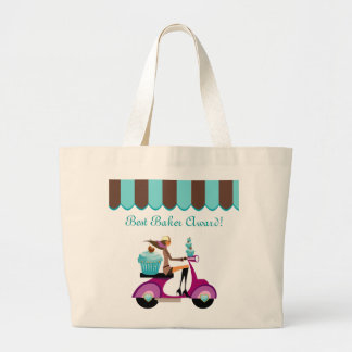Cupcake Scooter Girl Blue Grocery Tote Bag