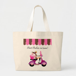 Cupcake Scooter Girl Pink Grocery Tote Bag
