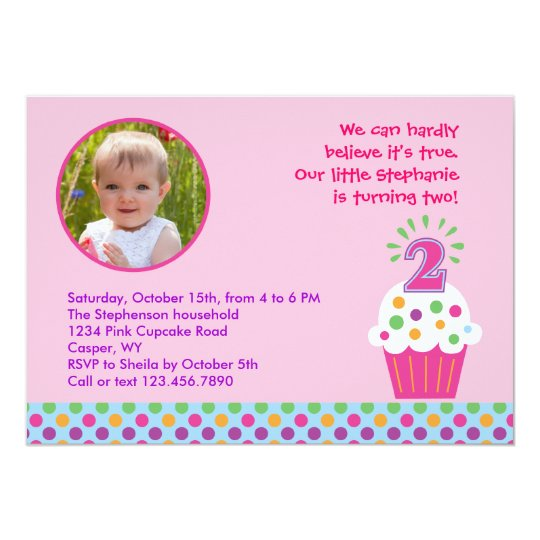 Cupcake Second Birthday Party Photo Invitation