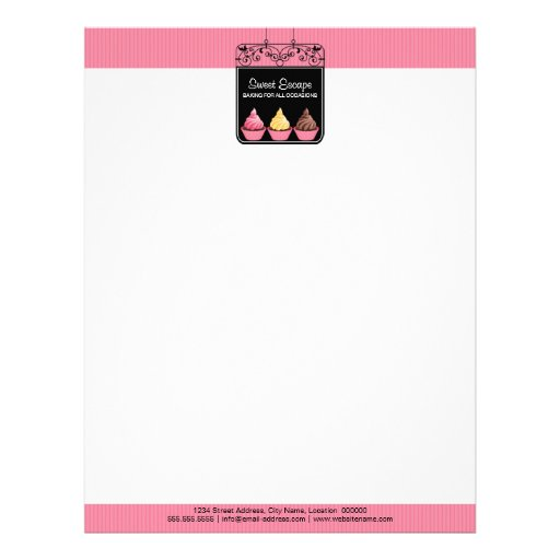 Cupcake Sign Bakery Business Letterhead