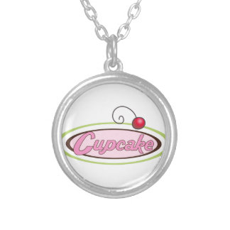 Cupcake Sign Silver Plated Necklace
